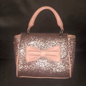 Call It Spring Small Bow Handbag Rose Gold Glitter